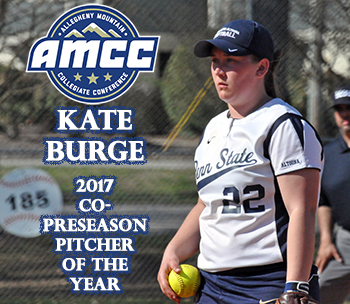 Softball Places Second in AMCC Poll; Burge Voted Co-Preseason Pitcher of the Year